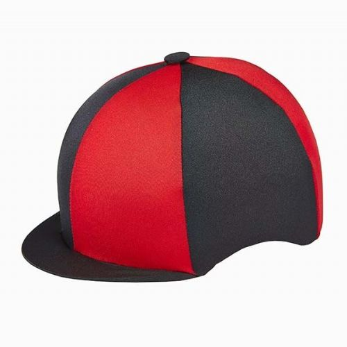 Capz Quartered Lycra Hat Cover in Black/Red